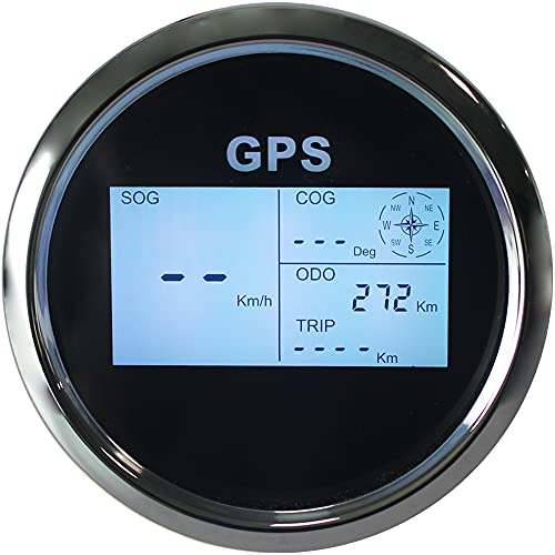Eling Digital GPS Speedometer LCD Speed Gauge Odometer Course 85mm Overspeed Alarm Mileage Adjustable 7 Backlights