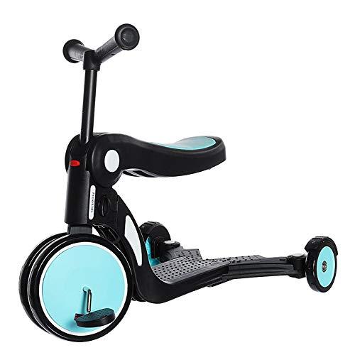 YWJPJ. Scooter de los niños con Asiento extraíble, Scooter de Manillar Ajustable con 3 Modos de Velocidad, Scooters Plegables para niños y niñas 1 a 6 años de Edad (3 Ruedas),Azul