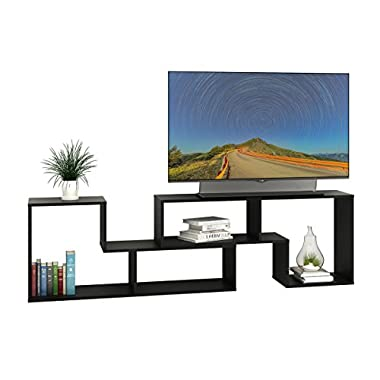DEVAISE 3-in-1 Versatile TV Stand Bookcase Display Cabinet Black (0.6  Thickness)