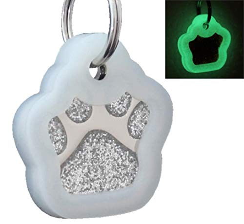 io tags Pet ID Tags, Personalized Dog Tags and Cat Tags, Custom Engraved, Easy to Read, Cute Glitter Paw Pet Tag (Silver + Silencer)