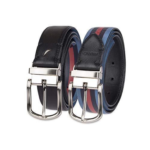 Nautica - Cinturón reversible de piel para hombre, Negro/Azul, 44
