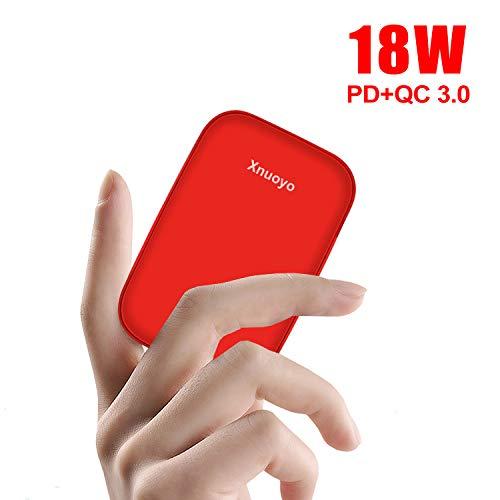 Xnuoyo Powerbank 10000mAh PD 18W QC 3.0 Externer Akku Portable Phone Charger Tragbares Ladegerät Externer Batterie Pack mit USB-Typ-C-Anschlüssen für iPhone Samsung Android-Handys und MacBook