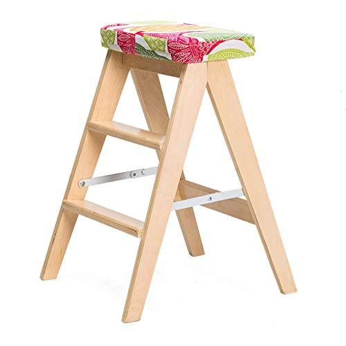 Aishang moda plegable silla madera sólida creativo simple hogar plegable taburete cocina taburete taburete taburete portátil 48x42.5x59m escalera