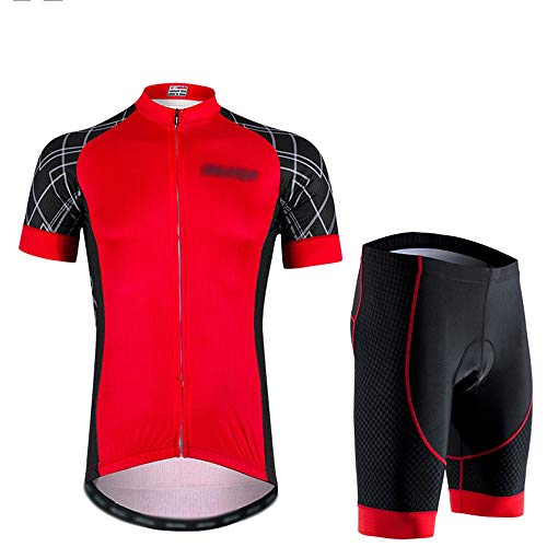 GONGMICF Hombre Ropa Ciclismo,Transpirable Maillot Ciclismo Corto Maillot Ciclismo + con 3D...