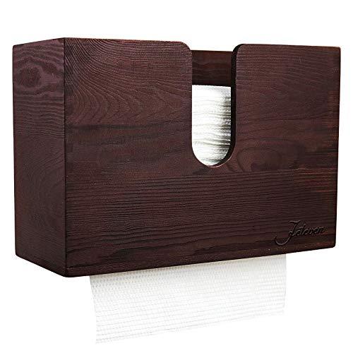 Jeteven Paper Towel Dispenser, Bamboo Paper Towel Dispenser, Kitchen Napkin Holders, Wood Paper Towel Dispenser, Wall Mount & Countertop Decor for Multifold, C Fold, Trifold, Z fold