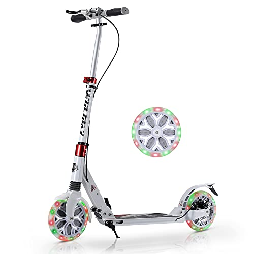 WIN.MAX Kick Scooter for Adults and Teens,Disc Brake for More Safe,with 200mm LED Wheels,Foldable Handle with 4 Adjustment Levels,220 Lbs Weight Capacity,Scooters for Kids 12 Years and up
