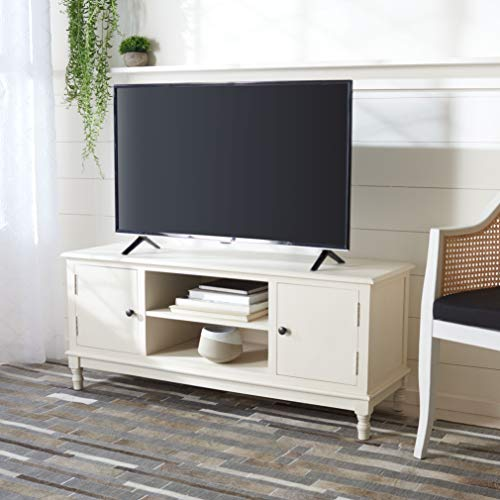 Safavieh Home Collection Ozark Distressed White 2-Door 1-Shelf TV (50-inch Flat Screen) Media Stand MED5700A