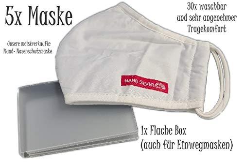 Stefan Hegelein Baumwolle Nano Silber Behelfs-Mund-Nasen-Masken 5er Set, (Sofort Lieferbar) + Maskenbox für Hosentasche oder Handtasche