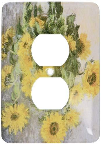 Receptáculo único dúplex, placa de pared Outlet Sunflowers Vintage Monet Floral Art - 2 enchufes cubierta