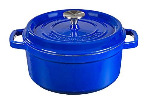 XSQUO Useful Tech Faitout en Fonte avec revêtement céramique vitrifié Gourmet Tools. Taille 24 cm, Bleu