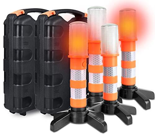 Acelane Pannenhilfe Stroboskopleuchte für die Straßenverkehrssicherheit LED-Blinklicht Warnblinkanlage Autobahnkennleuchte Warnblinkanlage Kit Magnetfuß, Abnehmbarer Ständer, Schutzhülle