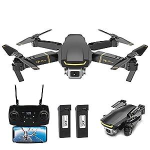 Goolsky Global Drone GW89 RC Drone Drone x procon Cámara 1080P WiFi FPV Foldable Controles Remotos Plegable RC Selfie Quadcopter para Niños Principiantes Entrenamiento (Negro, 2 Batería)
