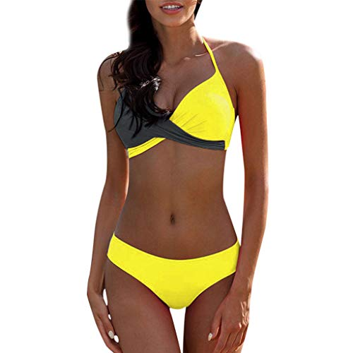 LANSKIRT_Bikinis Mujer 2020 Push Up Trajes de Baño Ropa de Playa Sexy Bikini Bañador Bandeau Corbata Cruzada con Contraste Color Bañadores Bikini Top y Tanga para Mujeres Niñas