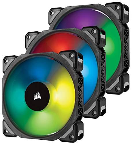 Corsair ML120 PRO RGB LED 120 mm PC-Gehäuselüfter (mit Magnetschwebetechnik, PWM, mit Lighting Node und Hub, 3er-Pack) Schwarz