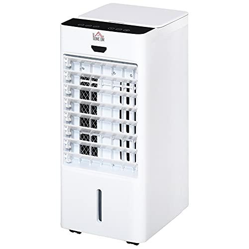 HOMCOM Raffrescatore Evaporativo con Telecomando e Serbatoio 7L, Ventilatore con Ghiaccio 9 Funzioni Timer 7.5h e Oscillazione, 75W, Bianco