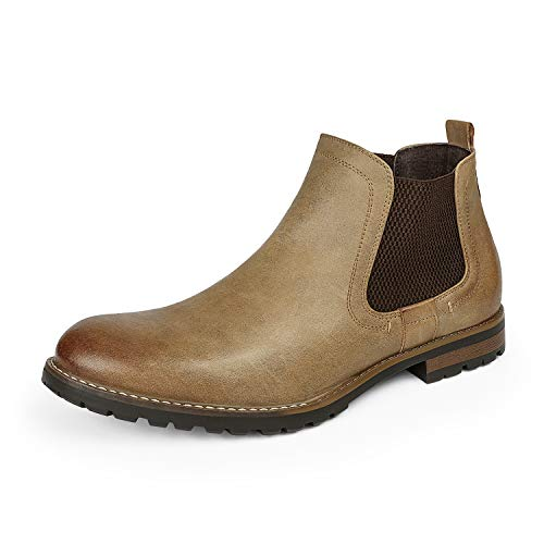Bruno Marc Men's Philly-2 Khaki Leather Lined Chelsea Dress Ankle Boots – 9.5 M US