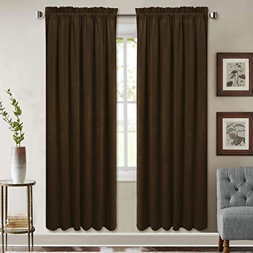 StangH Heavy Velvet Insulated Curtains - Casual Interior Velvet Blackout Drapes Noise Absorbing Privacy Protect Panels for Home Theater, Black, W52 x L72 inches, 2 Panels