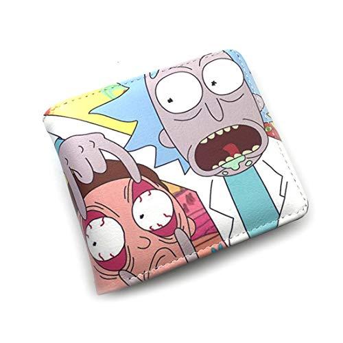 SWQ Durable Comics Rick and Morty cartera con bolsillo para monedas, monedero corto
