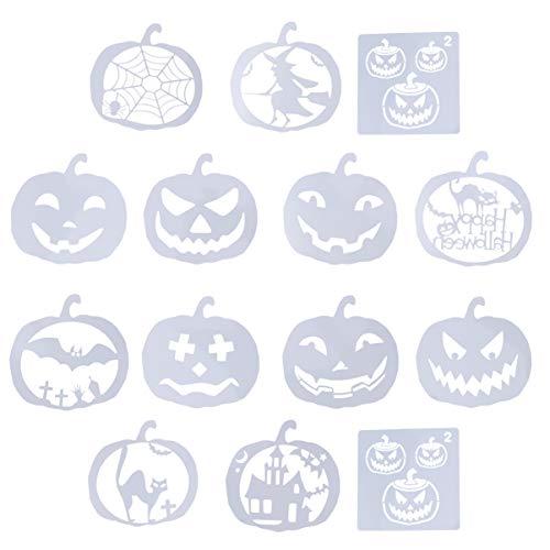 EXCEART 14 Stück Halloween-Schablonenset Kunststoff-Malvorlagen Jack-O-Laterne Kürbis-Schablonen für DIY Craft Card Face Painting