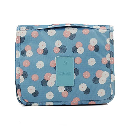 CalorMixs Travel Cosmetic Bag Printed Multifunction Portable Toiletry Bag Cosmetic Makeup Pouch Case Organizer Bathroom Storage Bag for Travel for Women Girls (Blue Flowers)