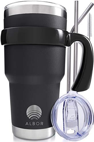 ALBOR Triple Insulated Stainless Steel Tumbler 30 Oz Black Coffee Travel Mug With Handle