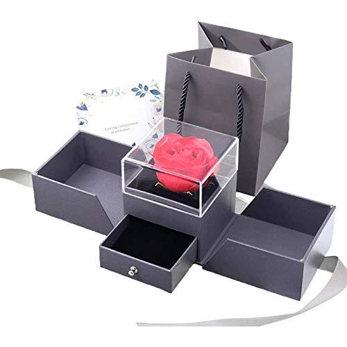ZHANG Caja de Joyería de Rosa 3D para Anillos, Pendientes, Collar, Pulseras, Presentación, Caja de Regalo, Almacenamiento, Caja Vintage