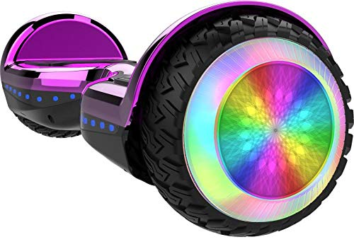 Gyrocopters PRO 6.0 All Terrain Hoverboard - UL 2272 Certified with Bluetooth, 36V / 2.0Ah Powerful Battery, 6.5' LED wheels, APP, No Fall Technology, up to 12km/h speed & 10km range, Front and Back lights, Free Hoverboard Bag (Chrome Purple)