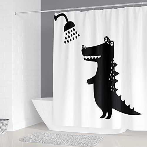 DGUOHAC Schöner Duschvorhang mit Krokodil-Druck, Badezimmer-Dekoration, 4-teiliges Set, Teppich WC-Deckelbezug, strapazierfähiger Stoff, 180 x 180 cm