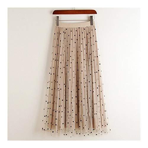 Falda de terciopelo de tul reversible para mujer, a la moda, elegante, a lunares, falda larga para mujer, cintura alta, plisada, color albaricoque, talla: talla nica)