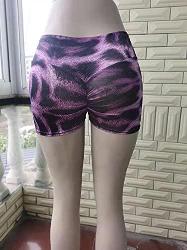 Leggings Sexy,Europa y los Estados Unidos verano nuevos pliegues de leopardo shorts de tres piezas series púrpuras que imprimen pantalones cortos deportes Pantalones de yoga elásticos-Leopardo_SG