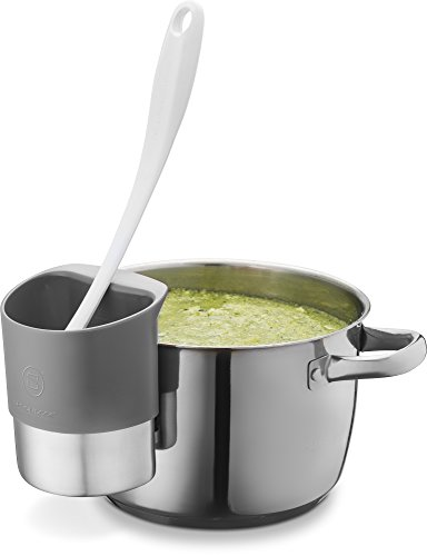 Belwares Spoon Rests for Kitchen - Stainless Steel Spoon Dock for Utensils - Cup Hangs on Saucepans, Pots for Preparing, Serving Food Without a Mess - Use as a Measuring Cup, Mix, Pouring (Gray)