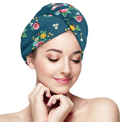 Pink Flowers Leaves Rose Floral Dry Hair Cap Microfibre Hair Towel Wraps Ultra Absorbent Quick Dry Twist Turban with Button for Drying Curly Long Thic