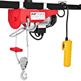 Goplus 440LBS Lift Electric Hoist Crane Remote Control Power System, Carbon Steel Wire Overhead Crane Garage Ceiling Pulley Winch w/Emergency Stop Switch, UL Approval