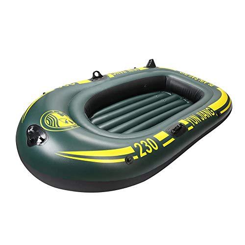 Barco de remo, bote de remo, barco inflable, kayak, canoa, con un par de remo, 1 fuelle de aire, parche de reparación autoadhesivo, para 2/3 personas, 185 x 105 cm