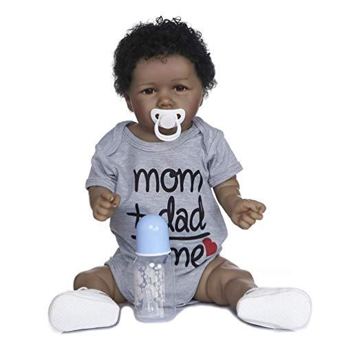 FACAIA Muñeca Rebirth, 22 Pulgadas 55 cm, muñecas Negras afroamericanas para bebés, Silicona Completa, muñeca Hecha a Mano, muñecas recién Nacidas, para niñas, cumpleaños, Regalo de