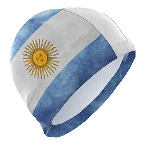 Gebrb Gorro de Baño/Gorro de Natacion, Argentina Flag Retro Lycra 3D Ergonomic Design Swim Cap Swimming