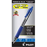 PILOT G2 Premium Refillable & Retractable Rolling Ball Gel Pens, Fine Point, Blue Ink, 12 Count (31021)