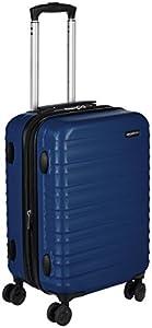 Amazon Basics - Maleta de viaje rígida giratori - 55 cm, Tamaño de cabina, Azul marino