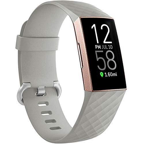 Ouwegaga Compatible for Fitbit Charge 4 Bands for Women,for Fitbit Charge 3 Bands Gray Small