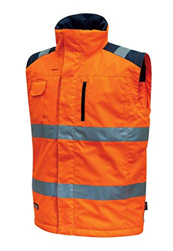 Upower HL159OF-L U-Power HL159OF-L-Chaleco Alta Visibilidad Gama Hi-Light Modelo Prime Orange Fluo Talla L