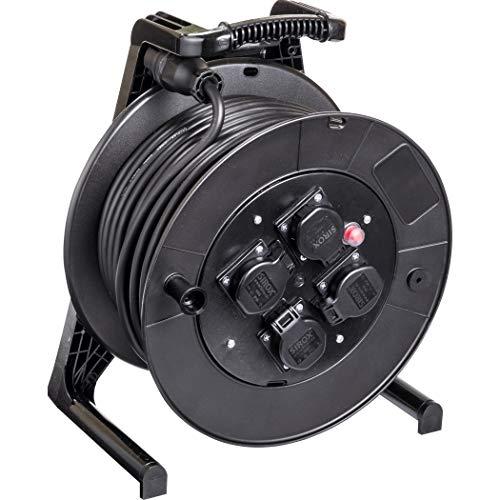 JUMBO® L Kabeltrommel mit 4 Steckdosen H07RN-F Leitungsfarbe schwarz, Querschnitt 3 x 1,5 mm², Länge 40 m