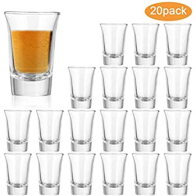 1.2 Ounce Heavy Base Shot Glass Set,QAPPDA Whisky Shot Glasses 1.2 oz,Mini Glass Cups For liqueur,Double Side Cordial Glasses,Tequila Cups Small Glass Shot Cups Set Of 20 KTY1501…