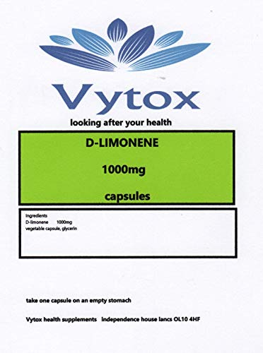 D-Limonene (1000mg) 60 Capsules, 2 Months Supply, by vytox, Vegetarian