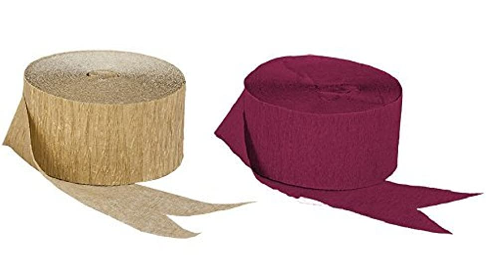 Dark Metallic Gold and Maroon Burgundy Crepe Paper Streamers (2 Rolls Each Color) MADE IN USA!
