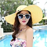Shihuawu Ladies Big Brim Sun Hat Colored Stone Handmade Straw Hat Female Summer Hat Casual Shade Beach Hat Cap -Yellow-G0996