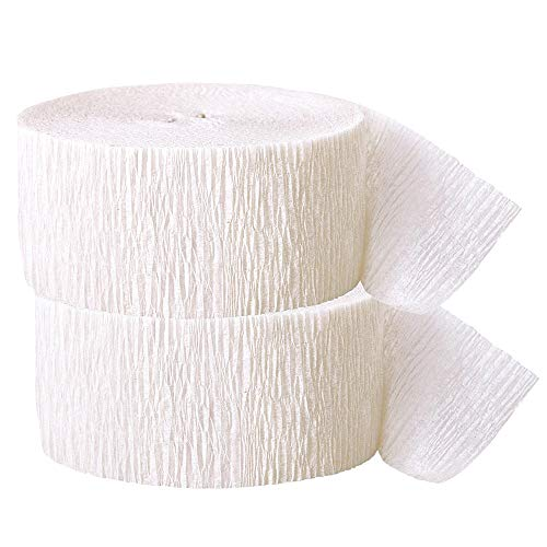 Crepe Paper Streamer, 81 Feet (2 Piece) - Party Supplies for Parties, Baby Shower, Bridal Shower (White)