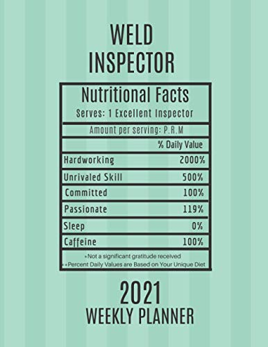 Weld Inspector Nutritional Facts Weekly Planner 2021: Weld Inspector Appreciation Gift Idea For Men