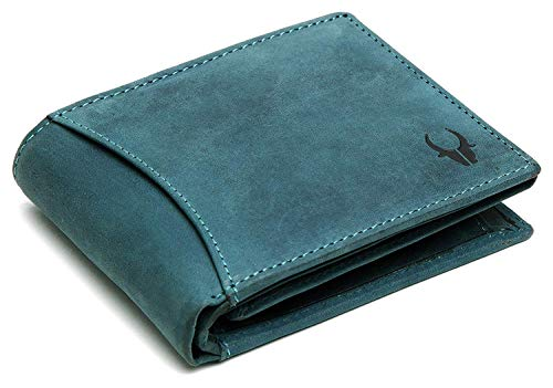 WILDHORN® Carter Leather Wallet for Men (Blue Hunter)