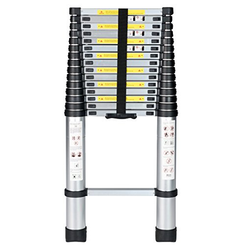 Good Life 15.5FT Telescopic EN131 Professional Folding Aluminum Multi Purpose Telescoping Ladder Extension Ladder with Spring Loaded Locking HMI023