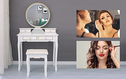 Fantasysmoke Princesa Hermosa tocador con Taburete de Espejo y 4 cajones, Mesa cosmética Blanca de Estilo rústico de Madera para niñas